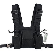 Lewong Universal Radio Carry Case Chest Pocket Pack Bag Harness for Motorola Kenwood Midland Two Way Radio