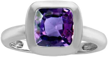 Star K 8mm Cushion Cut Solitaire Ring with Simulated Alexandrite