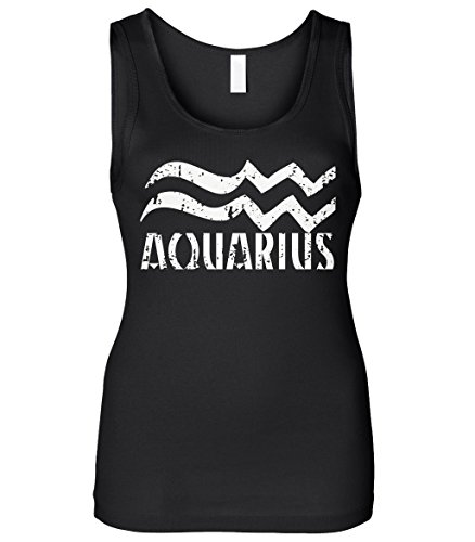 Cybertela Women's Distressed Aquarius Sign Slim Fit Tank Top (Black, Small) (Aquarius Tank)