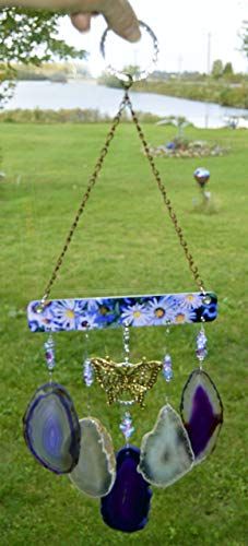 wind chime Agate geode windchime deep purple and light amber/gray tone stone sun catcher wind chime mobile window decor hanging beautiful golden butterfly by Riverstone Gallery (Image #4)