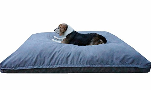 Dogbed4less XL Extra Large Memory Foam Dog Bed Pillow with Orthopedic Comfort, Waterproof Liner and Microsuede Pet Bed Cover 40X35 Inches, Grey by Dogbed4less
