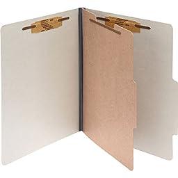 Acco Classification Folder - 2quot; Folder Capacity - Letter - 8.50quot; Width x 11quot; Length Sheet Size - 1 Dividers - 25 pt. - Pressboard - Mist Gray - 10 / Box