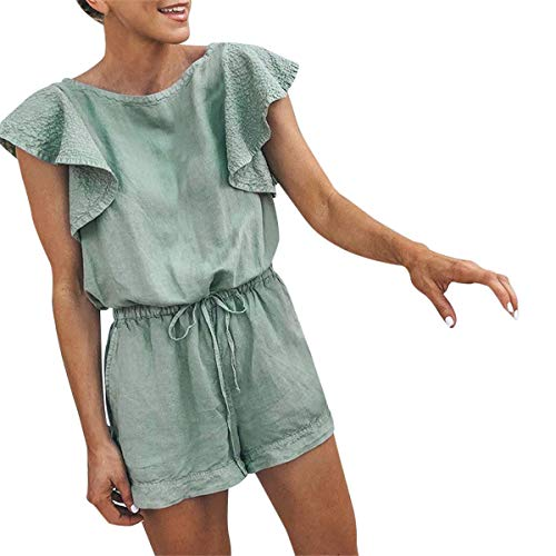Kalinyer Pants Jumpsuit for Women, Womens Ruffles Sleeveless Playsuit Jumpsuit Pants Trousers Rompers with Pockets(Green,S)