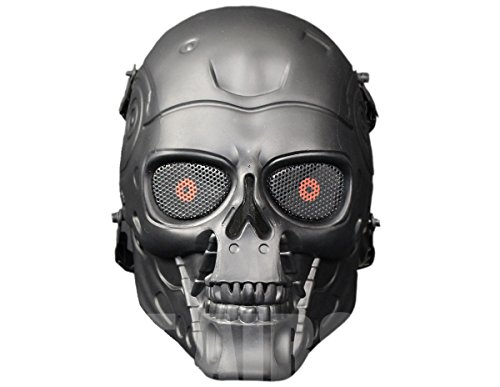 A&N Airsoft Full Face Terminator Skeleton Skull Mask Metal Eye Mesh Protection Black / Party Dress Up Costume Halloween Movie Prop