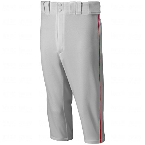 Mizuno Premier Short Piped Pants, Grey/Red, - Red Grey