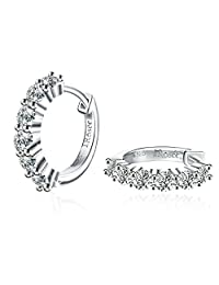 Earrings, Sterling Silver Earrings Rounded Hoops Earrings CZ J.Rosée Jewelry for Women, Best Gift for Wife Girlfriend Mother, Valentine's Day with Exquisite Package