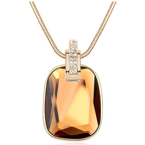 Latigerf Rectangle Shaped Pendant Long Necklace White Gold Plated Swarovski Elements Crystal Coffee-color