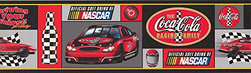 Coca Cola Official Sponsor of NASCAR Racing Cars Sports Wallpaper Border 15' x 7'' ()
