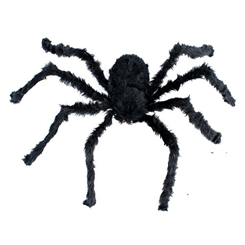 Wolfman Costume Cheap (75CM Black Large Spider Plush Toy Halloween Party Scary Decoration Haunted House Prop Indoor Outdoor Yard)