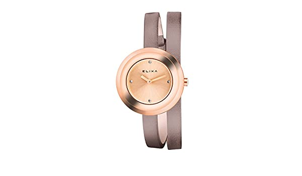 Amazon.com: Elixa E092-L356 Womens Rose Gold Watch Grey Double Wrap Leather Strap: Elixa: Watches