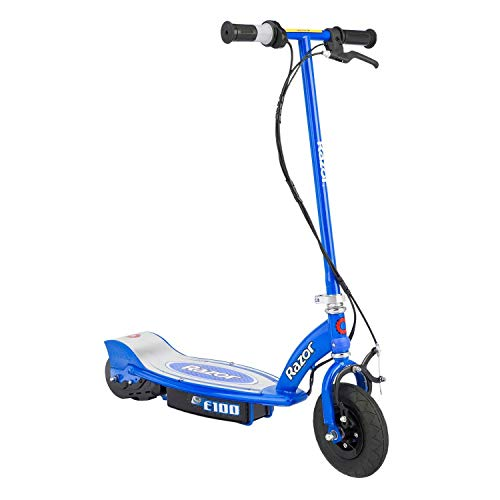 Razor E100 Kids Ride On 24V Motorized Battery Powered Electric Scooter Toy, Speeds Up To 10 MPH With Brakes and Pneumatic Tires, Blue