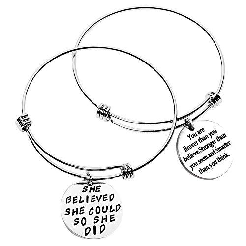 Bassion 2 Sets Silver Plated Stainless Steel Metal Inspirational Bracelets Engraved Motivational Round Charm Pendant Expandable Adjustable Bracelets Bangle Gift for Women Men]()