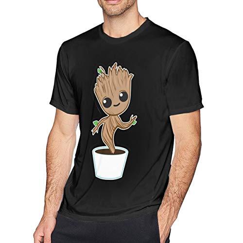Sintee Baby Groot Men's Short Sleeves Casual T-Shirt L Black ()