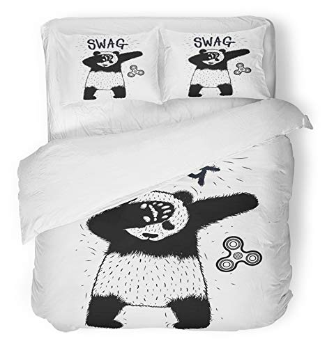Emvency 3 Piece Duvet Cover Set Breathable Brushed Microfiber Fabric Swag Panda Spinner Dancing Dub Sign Hipster for Tshirts Sweatshirts Hoodies Pajamas Bedding Set with 2 Pillow Covers King - Swag Sweatshirt Hoodie