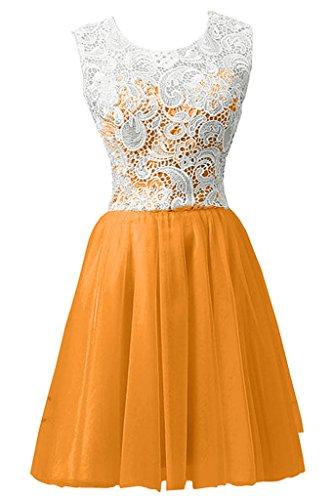 sunvary simple encaje Appliques a-line rodilla gasa fiesta vestidos dama de honor Luz Naranja
