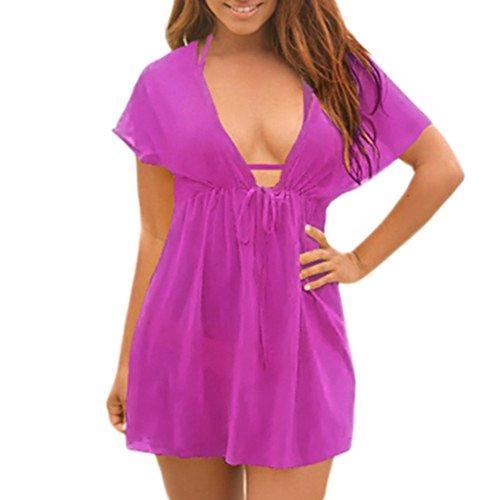 Cartiar Womens Sexy Lingerie Sheer Empire Tops Beach Rash Guard Smock Shirt (Purple) US XS-XL(One size)