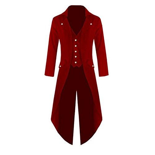 Keinra Men's Gothic Tailcoat Victorian Costume Steampunk Jacket Halloween Costume Long Coat (XXXXL, (Xxxxl Costumes)
