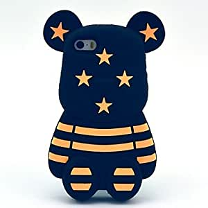 PEACH Star Striped 3D Cute Bear Pattern Silicone Soft Case for iPhone 5/ 5S