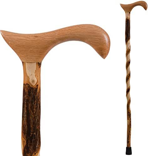 Brazos Free Form Twisted Hickory Handcrafted Wood Cane with Derby Handle, 34 Inch, Made in the USA