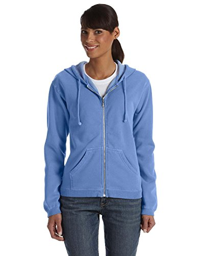 Comfort Colors - Ladies' 10 oz. Garment-Dyed Full-Zip Hood >> XL,FLO BLUE