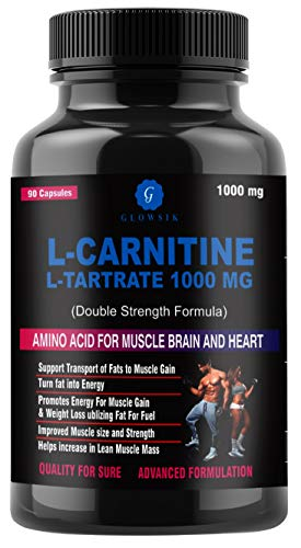 GLOWSIK L-Carnitine L- Tartrate 1000 mg pre work out supplements – 90 capsules