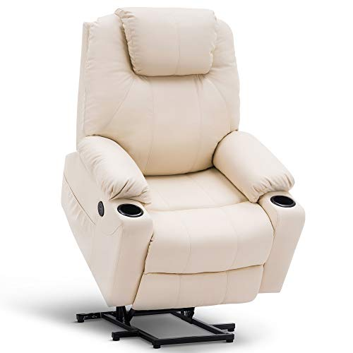 Mcombo Oversized Power Lift Recliner Chair with Massage and Heat for Elderly Big and Tall People, 3 Positions, 2 Side Pockets and Cup Holders, USB Ports, Faux Leather 7517 (Large, Cream White)