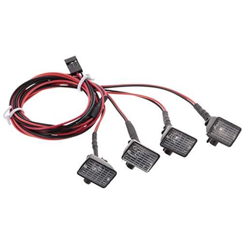 Parts 4wd Kit (4 Pcs RC Car Square LED Light Multi-Function LED Lights for Axial SCX10 TRX-4 HSP (B))