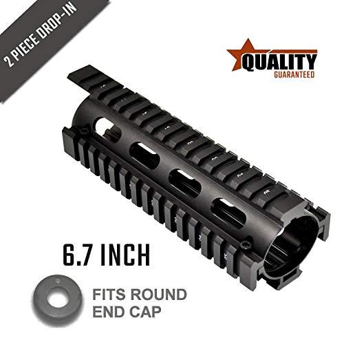 "FANTO AR-15 AR15 M4 M16 Enhanced Drop in Quad RaiI Mount Solution Alumium, Black Finished (6.7"" Drop-in)"