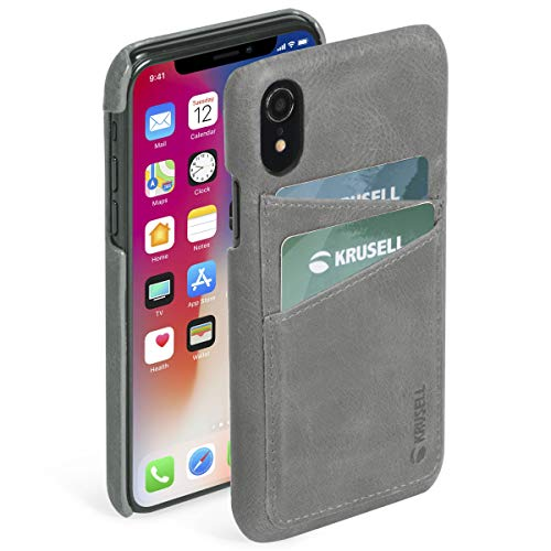 Krusell Sunne 2 Card Wallet Case for Apple iPhone XR - Premium Leather Case, Vintage Grey (61471)