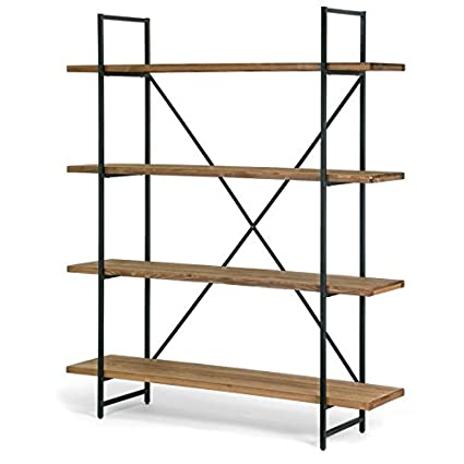 f5938aac29119 Image Unavailable. Image not available for. Color  Modern Etagere Bookcase  Brown Pine Wood Shelves Black ...