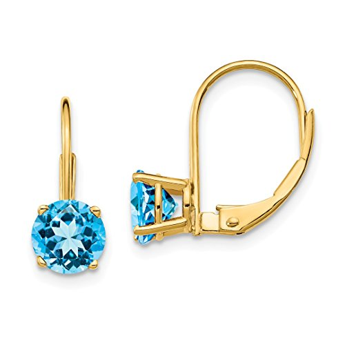 - ICE CARATS 14kt Yellow Gold 6mm Blue Topaz Leverback Earrings Lever Back Drop Dangle Gemstone Prong Fine Jewelry Ideal Gifts For Women Gift Set From Heart