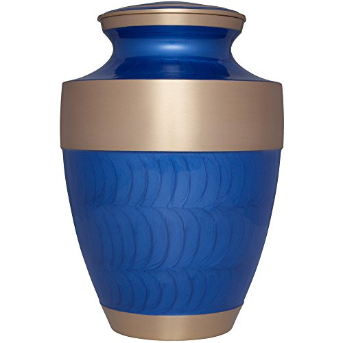 Funeral Urn by Liliane Memorials - Cremation Urn for Human Ashes - Hand Made in Brass - Suitable for Cemetery Burial or Niche - Large - Fits remains of Adults up to 200 lbs - Banda Model (Blue) by Liliane Memorials