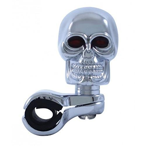Chrome Die Cast Skull Steering Wheel Spinner Suicide Knob / Universal Bracket United Pacific