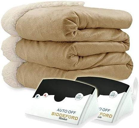 Size King Biddeford Microplush Electric Heated Blanket Beige