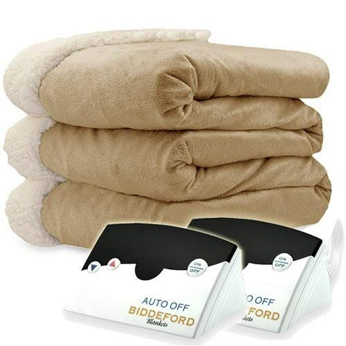 Biddeford 6004-9051136-713 Electric Heated Micro Mink/Sherpa Blanket, King, Linen