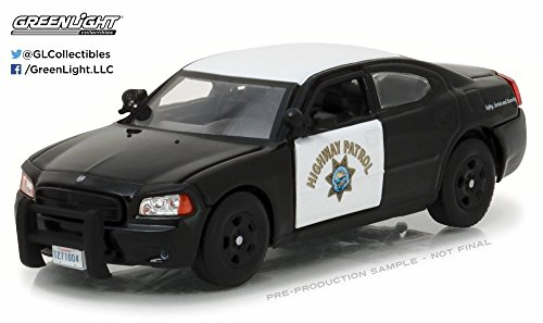 2008 Dodge Charger Police Interceptor Car California Highway Patrol, Black w/White - Greenlight 86087 - 1/43 Scale Diecast Model Toy Car