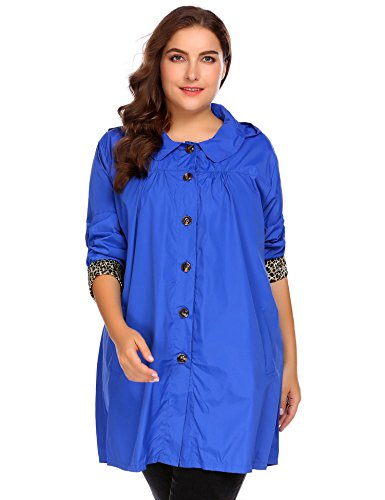 INVOLAND Plus Size Womens Waterproof Raincoat Lightweight Outdoor Hooded Rain Jacket Windbreaker