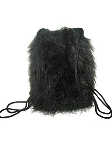Insanity Fluffy Furry Black Backpack Bag