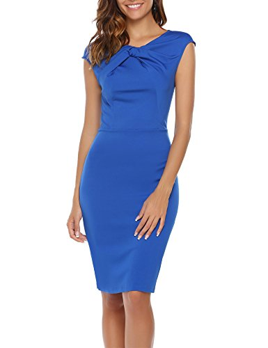 Ruched Silk Sheath Dress (ANGVNS Womens Twist Asymmetric Neckline Bodycon Sheath Dress Royal Blue M)