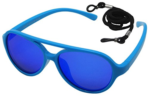 Coolsome Kids Rubber Flexible With Strap Polarized Aviator Sunglasses For Boys Girls Age 3 -9 Years Mirror Lens Optional (Mirror Lens Blue - Sunglasses With Strap Kids