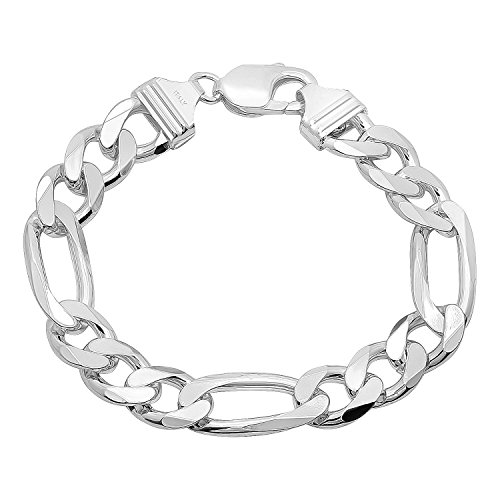 11mm Real 925 Sterling Silver Italian Crafted Thick Beveled Figaro Chain Bracelet + Jewelry Cloth
