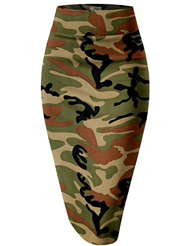 Womens Pencil Skirt for Office Wear KSK43584 10188 CAMOUFLAGE M (Sexy Camo Outfits)