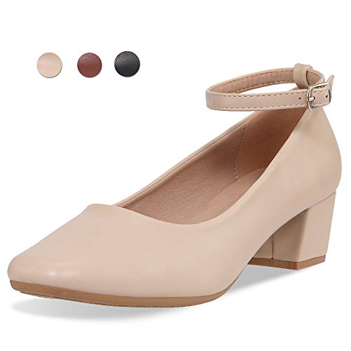 CINAK Low Heel Chunky Heels Dress Shoes for Women- Comfortable Ankle Strap Pumps Square Toe Ladies Mary Jane