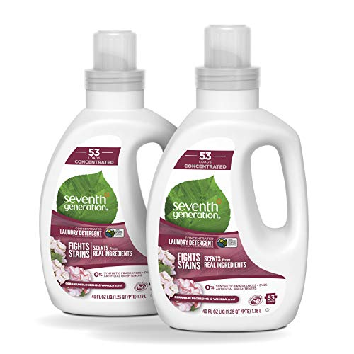 Seventh Generation Concentrated Laundry Detergent, Geranium Blossom & Vanilla, 40 oz, 2 Pack (106 Loads)