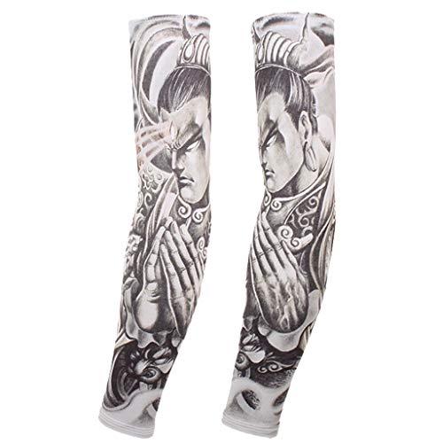 A Pair Arm Sleeves Temporary Tattoo Cover Up Art Anti-Slip UV Sun Protection -