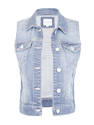 Design by Olivia Women's Sleeveless Button up Jean Denim Jacket Vest Light Denim 1XL