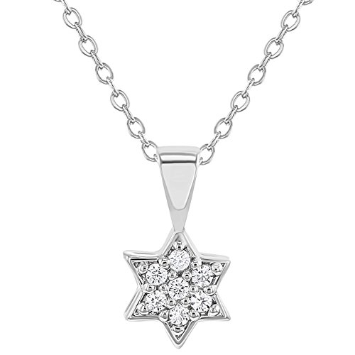 In Season Jewelry Rhodium Plated Clear Cubic Zirconia Star of David Children's Pendant Necklace (Small Star Of David Pendant)