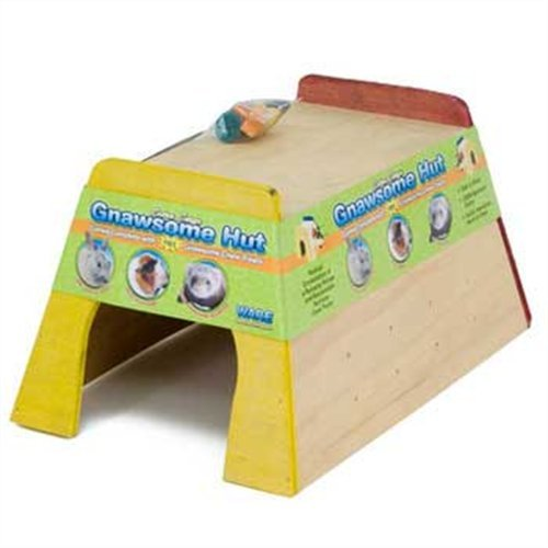 Ware Manufacturing Wood Gnawsome Small Pet Hut with Chew Toy, Extra Large