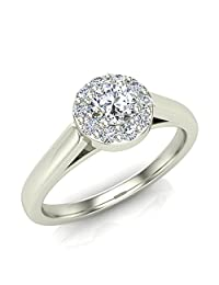 1/3 ctw Diamond Halo Promise Ring 14K Gold (G,VS) Signature Rare Quality