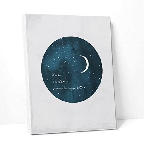 Born Under A Wandering Star Quote Poster, Canvas Wall Art Ready to Hang (Blue Grey, Many Sizes)